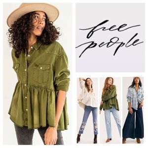 Free People We The Free Dylan Babydoll Top.  NWT.